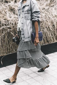 What to Wear This Weekend: Denim Jacket, Plaid Skirt, Slingback Flats