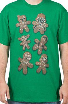 Gingerbread Star Wars Christmas T-Shirt: Darth Vader, Boba Fett, Yoda