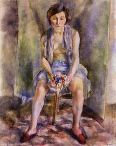 julius mordecai pincas(aka jules pascin, 1885–1930), woman with a bouquet, 1927. oil on canvas, 81 x 65 cm. private collection http://www.the-athenaeum.org/art/detail.php?ID=63482