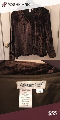 5c05ce426ac Cold water Creek velvet top Beautiful lined top from Colwater Creek with  embroidered detail Coldwater Creek Tops Button Down Shirts