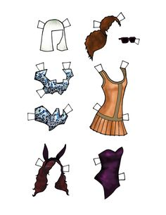 British fashion model, Naomi Campbell by Danielle 2 web - black / African-American / person of color - young woman paper doll