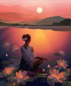 Meditation Art, Yoga Art, Art And Illustration, Girl Illustrations, Art Anime Fille, Afrique Art, Art Mignon, Ouvrages D'art, Fantasy Art