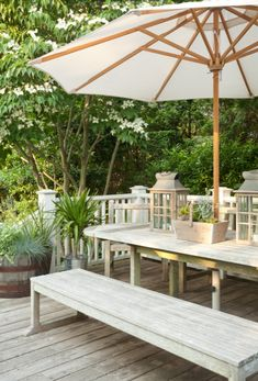 Bungalow Blue Interiors -  deck makeover...paint railing, add plantings, furniture, etc.