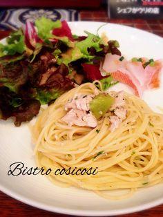 Bistro cosicosi❤︎ Today's Dinner❤︎ date❤2015.4  ⋈赤いさぎのカルパッチョ  ⋈鯖のペペロンチーノ  #ビストロコジコジ