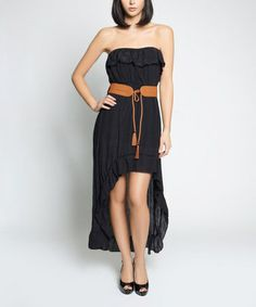 Another great find on #zulily! Black Ruffle Belted Pam Hi-Low Strapless Dress - Women #zulilyfinds