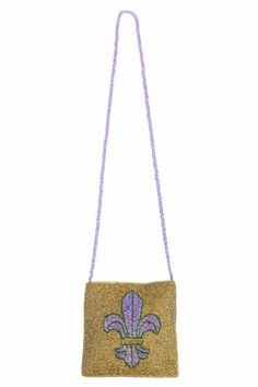 """100% glass beads. Gold fabric lined magnetic snap closure and ribbon accents.  Measures: 6"""" x 6""""; 40"""" strap  Fleur De Lis Bag by Lili & Co. Bags - Cross Body Alabama"""