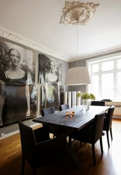 larger than life prints in the dining room McCade and Graham Dining Room Design, Dining Area, Dining Table, Decoration Design, Decoration Table, Modern Interior Design, Interior Design Inspiration, Turbulence Deco, Living Spaces