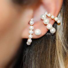 Brincos e piercings falsos de pérolas shell e prata 925.