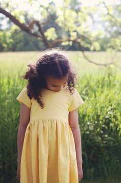 Girls Handmade Yellow Linen Dress   littlelotticlothing on Etsy