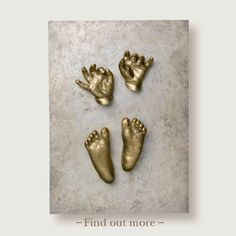 Baby Feet cast in Bronze on Wall Panel