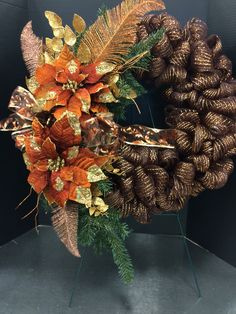 Warm bronze and brown custom floral wreath by Andrea for Michaels Round Rock