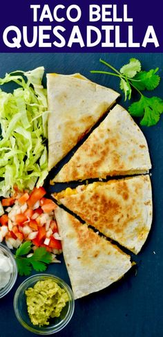 Make this Taco Bell Chicken Quesadilla recipe in the comfort of your own home. It is so easy to throw together and makes a perfect and easy weeknight dinner. Copycat Taco Bell Chicken Quesadilla Recipe, Taco Bell Quesadilla, Breakfast Quesadilla, Chicken Quesadillas, Taco Bell Recipes, Pork Recipes, Mexican Food Recipes, Chicken Recipes, Cooking Recipes