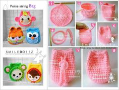 Second, make faces & ears. Third, sew them onto the bag. Crochet Diy, Crochet Kawaii, Crochet Amigurumi, Crochet Shoes, Filet Crochet, Crochet Clothes, Crochet Coin Purse, Crochet Backpack, Crochet Pouch