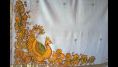 Kerala Mural on fabric Mural Painting, Indian Traditional Paintings, Madhubani Paintings Peacock, Saree Painting, Mural Art, Fabric Painting, Kerala Mural Painting, Mural Design, Madhubani Painting