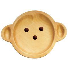 Petits Et Maman Kids' Wood Plate, Monkey Wooden Cat, Wooden Toys, Animal Plates, Kids Plates, Walking Sticks And Canes, Wooden Plates, Kids Wood, Room Accessories, Cat Design