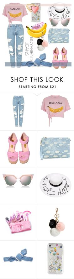 """Borrowed from the Boys: Boyfriend Jeans"" by kari-c ❤ liked on Polyvore featuring Topshop, River Island, Fendi, GUESS, Colette Malouf, Rebecca Minkoff, Too Faced Cosmetics and boyfriendjeans"