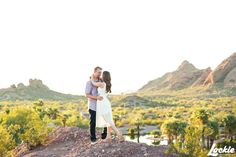 Engagement pictures in Papago Park. Arizona engagement photo ideas. ©Lockie Photography