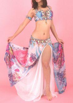 ベリーダンス衣装 ライトブルー×ピンク 花柄 Designed by Eman Zaki イマーンザキ - ベリーダンス衣装セレクトショップ アナシア