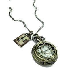 Alice in Wonderland Drink Me Pocket Watch Necklace D
