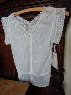 VTG 1900's Antique blouse Edwardian semi sheer white cotton lace cut out s/m #Handmade