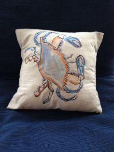 12x12 coastal pillow, crab, beach decor, ocean, summer, nautical decor, lake, cottage, coastal decorating