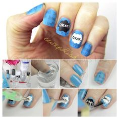 """The Fault in Our Stars Nail Art! {#cutepolish @cutepolish} #tfios #thefaultinourstars #augustuswaters #hazellancaster #hazelgrace 1. Paint your nails blue the use newspaper strips and dip them into rubbing alcohol and press them into your nail for 20 seconds. (Fresh newspaper works best and use a cotton swab dipped in water to clean up if it gets on your skin) 2. Use a dotting tool to create black and white clouds on your ring and middle finger 3. Use a tiny paint brush to write """"okay?"""" And…"""