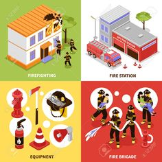 Illustration of Isometric firefighter design concept with firefighting brigade equipment and station isolated on colorful backgrounds vector illustration vector art, clipart and stock vectors. Building Icon, Vector Portrait, Flat Illustration, Vector Pattern, Portfolio Design, Firefighter, Vector Art, Flat Icons, Colorful Backgrounds