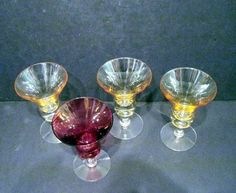 4 Vintage Iridescent Liquor Glasses Amber and Red