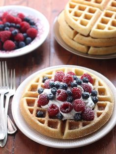 Best Buttermilk Waffles by Completely Delicious. I made these for my mom for Mother's Day, and they were the best waffles I have ever tasted Buttermilk Waffles, Crepes And Waffles, Pancakes, Blueberry Waffles, Waffle Recipes, Brunch Recipes, Breakfast Recipes, Great Recipes, Favorite Recipes