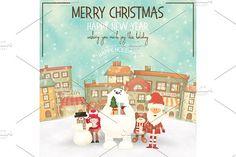 Merry Christmas Greeting Card by elfivetrov on @creativemarket