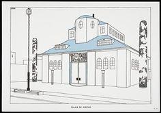 """Palais de Justice, from """"Une Cite Moderne, Dessins de Rob Mallet-Stevens Architecte"""", Robert Mallet-Stevens; Publisher: Mourlot Freres, Paris"""