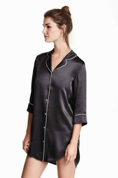 Nightshirt in woven satin silk fabric with contrasting piping, rounded collar, and buttons at front. Yoke with a pleat at back, sleeves, and a rounded hem. Slightly longer at back. Satin Sleepwear, Satin Pajamas, Nightwear, Plaid Pajamas, Pyjamas, Belle Lingerie, Ropa Interior Boxers, Lingerie Outfits, Pajama Bottoms