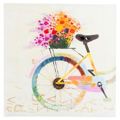 Handmade Modern Abstract Oil Paintings Bike With Flower Canvas Wall Art Pictures For Living Room Home Decoration Unframed Bicycle Painting, Bicycle Art, Bicycle Basket, Bicycle Design, Art And Illustration, Oil Painting On Canvas, Canvas Wall Art, Canvas Paintings, Painting Art