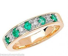 9ct Gold Real Emerald & Diamond 1/2 Eternity Ring (available in sizes G - Z)