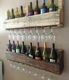 3. Wine bottle & glass shelves | Community Post: 16 Stylish Pallet Projects