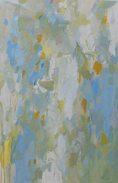 large abstract painting pamela munger muted colors acrylic on canvas blue orange celery green