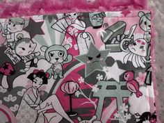Custom Handmade Minky Baby and toddler blankets - this one is Japanese Style Pop Art Anime Graphics - by www.SnuggleBugZZZ.etsy.com