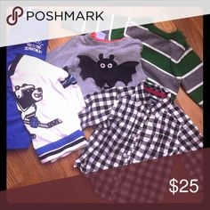 Baby boy/toddler clothes Carters Hockey wind pants and sweater shirt: size 12 months, $10  Bat Halloween shirt: size 18 months, $5  Children's place striped sweater: 12 months, $8  Craters plaid button up: size 12 months, $8  🌟Buy the lot for $25 or I can separate pieces🌟 Shirts & Tops
