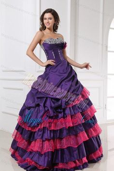 Sweetheart Beading and Flowers Quinceanera Dress in Red and Purple