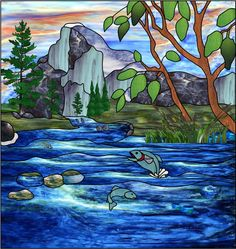 river stained glass | Fish Creek B Faux Privacy Stained Glass Clings and Window Films