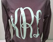 Large Fancy Monogram Long Sleeve Shirt. Fancy. by ElleQDesigns