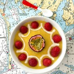 Getting my bearings this morning with this Passion Fruit and Mango Smoothie Bowl. Mango, frozen banana and fresh squeezed orange juice, cashew creme, fresh raspberries and passion fruit.  @chakrashakes on Instagram