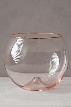 Anthropologie Gilded Rim Stemless Glass