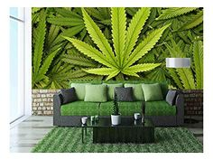 - Big Marijuana Leaf Close Up with Texture Background of Cannabis Leaves - Removable Wall Mural Marijuana Decor, Marijuana Leaves, Cannabis Oil, Outdoor Walls, Outdoor Furniture Sets, Stoner Room, Removable Wall Murals, D House, Weed