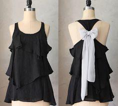 DOVE AURA Romantic black flowy tier blouse // by FleetCollection
