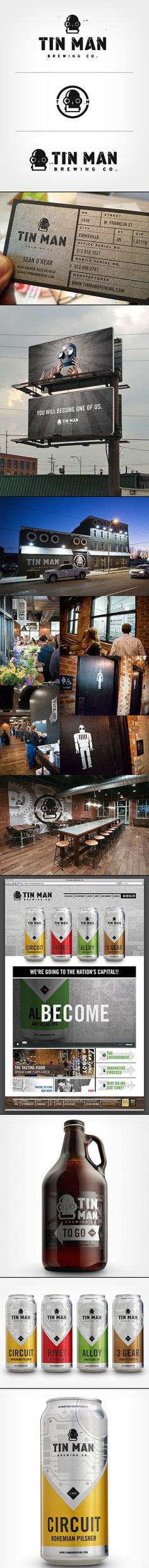 Branding of a Brewery - Tin Man Brewing Co. A cool look at building a brand from all angles. Brand Identity Design, Graphic Design Branding, Corporate Design, Corporate Identity, Graphic Design Illustration, Business Design, Visual Identity, Logo Design, Identity Branding