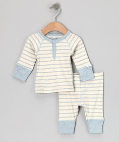 Take a look at this Blue & Natural Stripe Henley & Pants by Coccoli on #zulily today!
