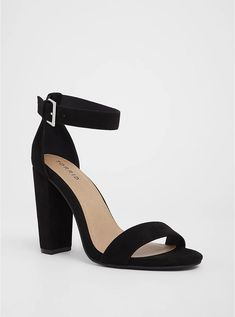 Rich faux suede wraps a timeless high heel sandal that instantly dresses up any day-to-night look. TRUE WIDE WIDTH: Designed so you never have to size up again. Buckle closure chunky heel Man-made materials Imported wide width shoes Lace Up Heels, Ankle Straps, Ankle Strap Sandals, Pumps Heels, Ankle Boots, Ankle Heels, Sandal Heels, Black Block Heel Sandals, Suede Heels