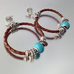 Brown Braided Leather Hoop Earrings with by TsStudioJewelry
