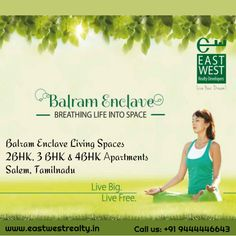 Balram Enclave living spaces 2BHK, 3BHK and 4BHK #Apartments in Salem. #Eastwestrealty #Apartmentsinsalem For more details: http://www.eastwestrealty.in Give us a call at +91 9444446643